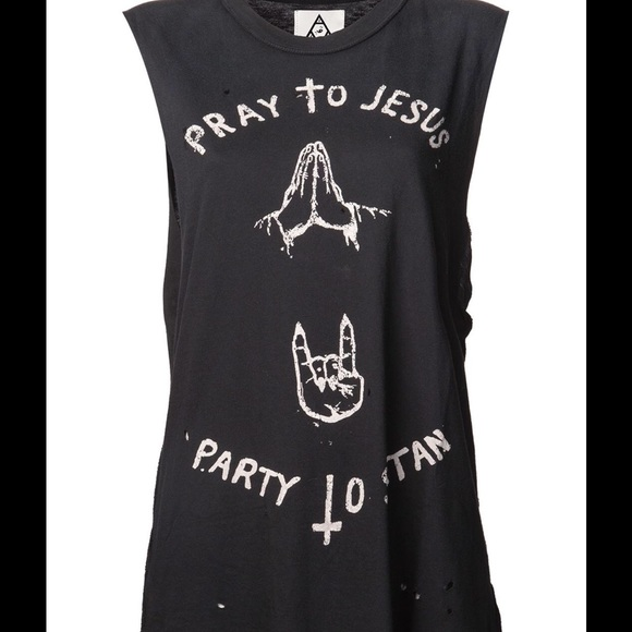 affa8a54 UNIF Pray To Jesus Party To Satan Muscle Tee. M_576b521a8f0fc481c30080b4