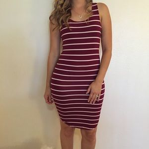Dresses & Skirts - Burgundy Striped Curved Hem Tank Dress