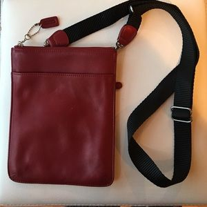 Red leather Coach crossbody swing pack purse