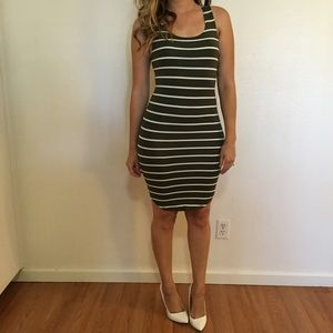 Dresses & Skirts - Olive Striped Curved Hem Tank Dress (LAST SMALL!)