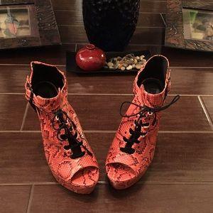 Dollhouse Shoes - Orange Printed Heels