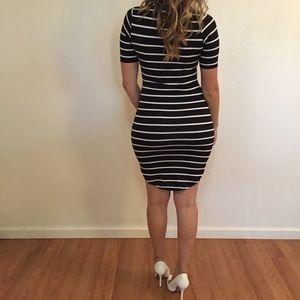 Dresses & Skirts - Black Striped Curved Hem Midi Dress