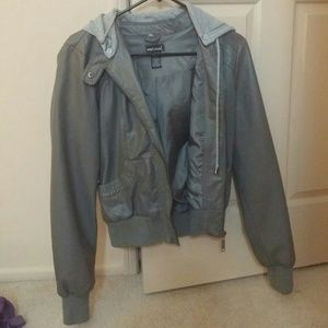 Wet seal grey leather jacket