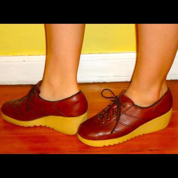 27% off Vintage Shoes - 70s Platform Wedge Shoes Oxblood ...