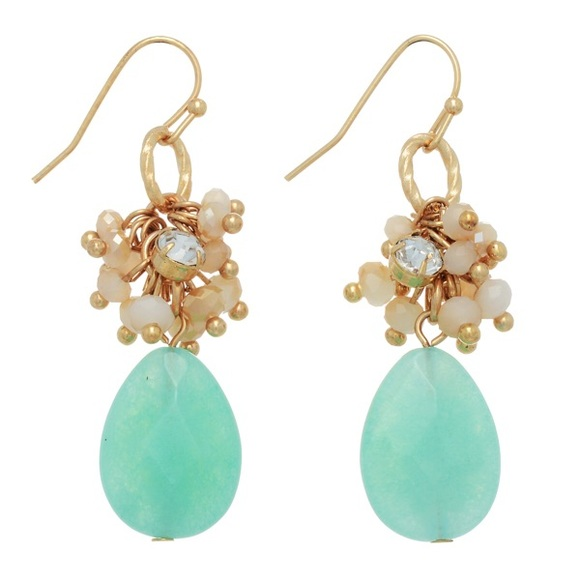 Influence Jewelry - 🌎👂🏼Mint & Beige Cluster Teardrop Earrings