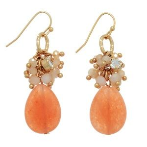 Peach Cluster Teardrop Earrings