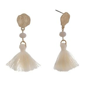 🌎👂🏼Gold Tone Drop Post Ivory Tassel Earrings