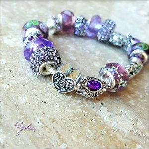 Salty Grace  Jewelry - Best Mom purple charm bracelet