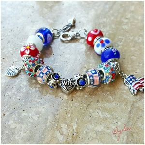 Salty Grace  Jewelry - Military Wife red white and blue charm bracelet