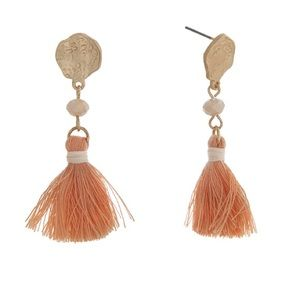 Romance Jewelry - 🌅👂🏼Peach & Gold Tassel Earrings