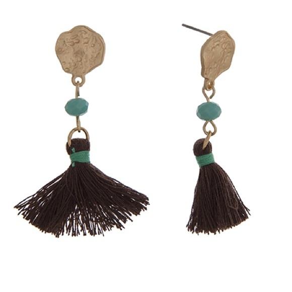 Romance Jewelry - 🏝👂🏼Brown & Gold Tassel Earrings