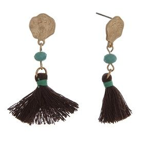 🌎👂🏼Gold Tone Drop Post Brown Tassel Earrings