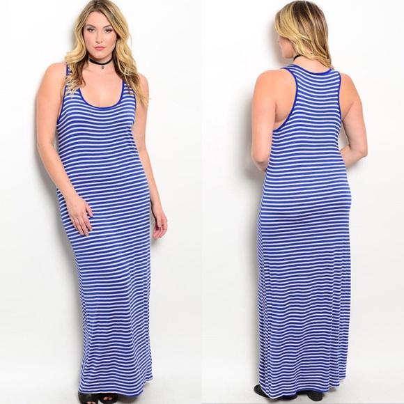🎉CLEARANCE🎉 Plus Size Blue & Cream Tank Dress Boutique