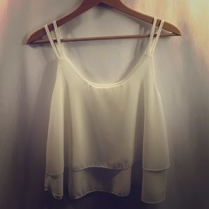 Off-White 2-Tiered Layered Tank Top Crop Blouse