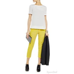 Pierre Balmain Denim - BALMAIN Yellow cropped distressed denim