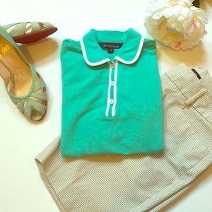 Brooks Brothers Aqua Blue Polo Shirt Top