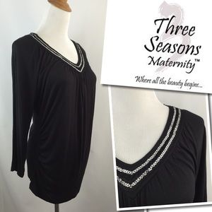 Three Seasons Maternity Tops - Three Seasons Maternity V Neck Sequin Shirt