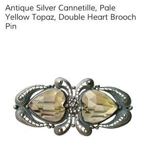 Antique Pale Yellow Citrine Double Heart Brooch