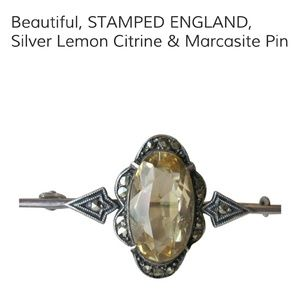 Antique Sterling Silver Lemon Citrine Pin