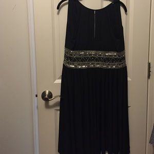 Black halter cocktail dress sequin waist 6 petite