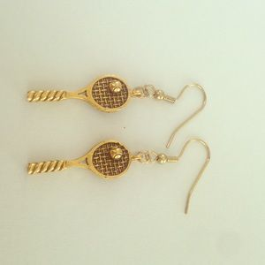 Gold tennis racket earrings