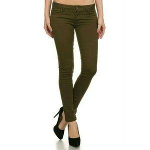 Denim - Olive Skinny Denim Jeans