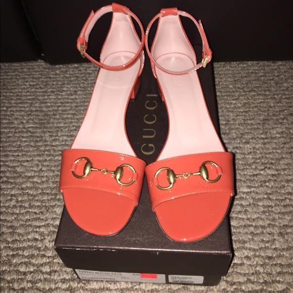 12f1a88d5 Gucci Liliane Patent Leather Orange Sandals