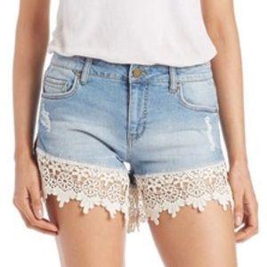 Pants - Crochet hem denim shorts