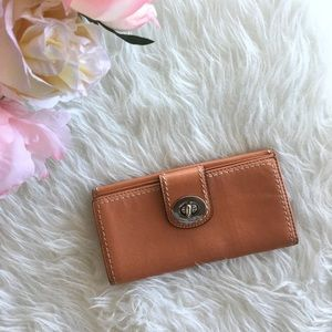 Coach Handbags - Coach Tangerine Turnlock Wallet