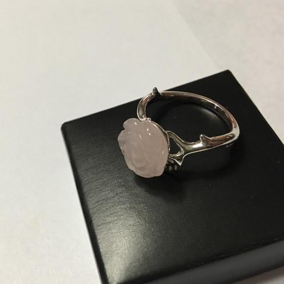 Vintage Sterling Silver Rose Quartz Flower Ring Size 10