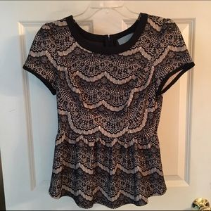 Black and Beige Pattern Blouse