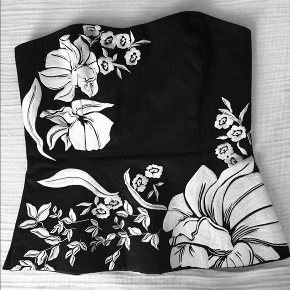 White House Black Market Embroidered Bustier Top