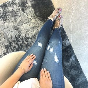 Denim - Distressed Skinny Jeans With Notched Ankle