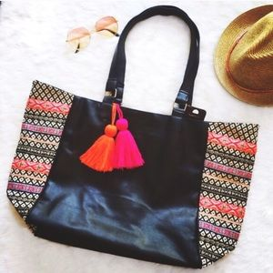 Karma Handbags - Faux Leather Boho Tribal Print Tote w/ Pom Poms
