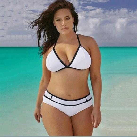 ♡Plus Size♡ White Black Bikini   Small Breasts