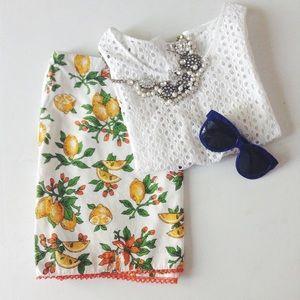 {milly} 🌿 lemon print mini skirt
