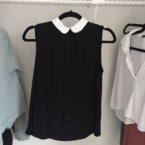 Zara Black Tank Blouse w/ White Collar