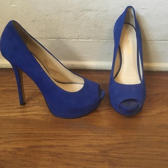 blue open toe heels shoes