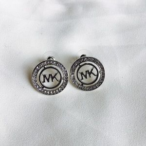 Circle Silver Rhinestone MK Stud Earrings