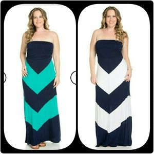 Navy blue and white plus maxi dress