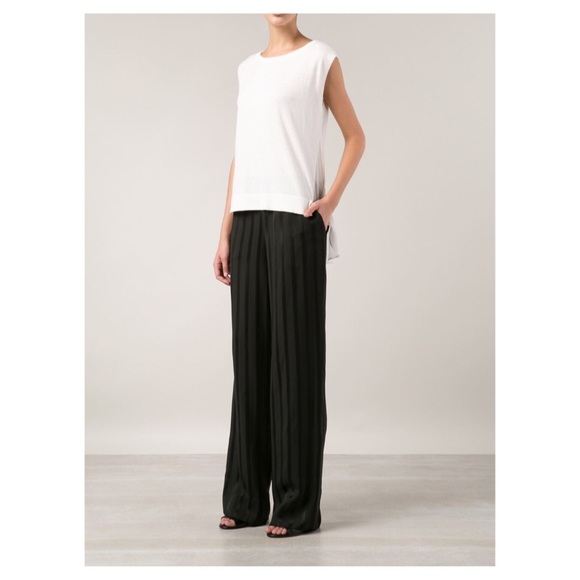 Theory Pants - Theory black trendy striped wide leg pants size 4