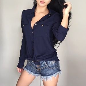 Navy Blue Hampton Blouse