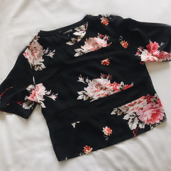 Express Tops - Floral Top with Sheer Detailing