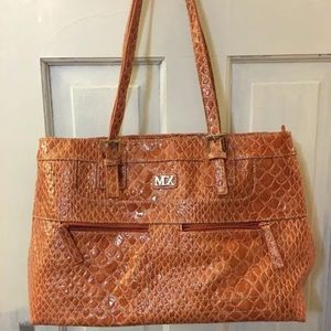 MXM Handbags - Orange MX Snakeskin Purse