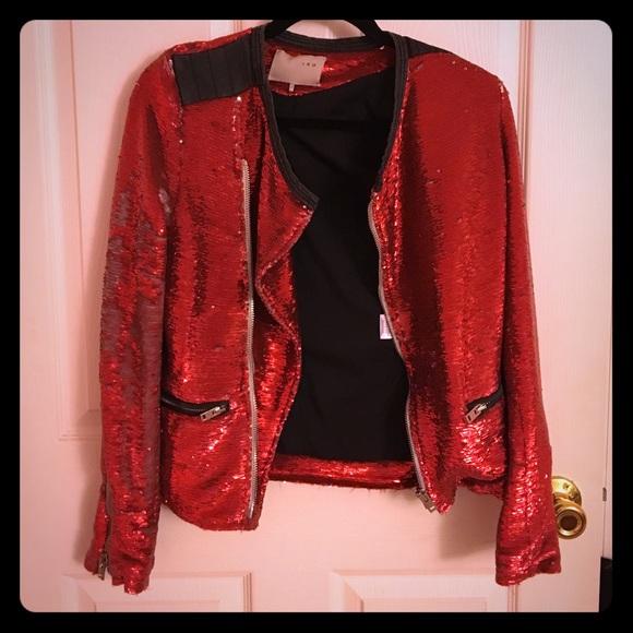 bb2ce36e IRO Jackets & Coats | Authentic Red Sequin Jacket | Poshmark