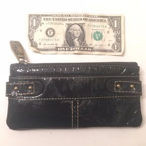 Patent leather green fossil wallet
