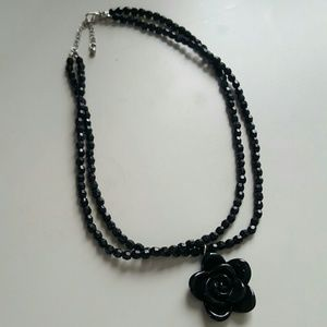 Jewelry - Black rose necklace