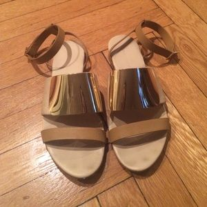 Shoes - See By Chloé Tan Sandals With Gold Detail