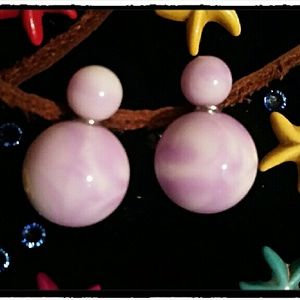 Jewelry - Runway Tie Dyed Purple and White Swirl earrings.