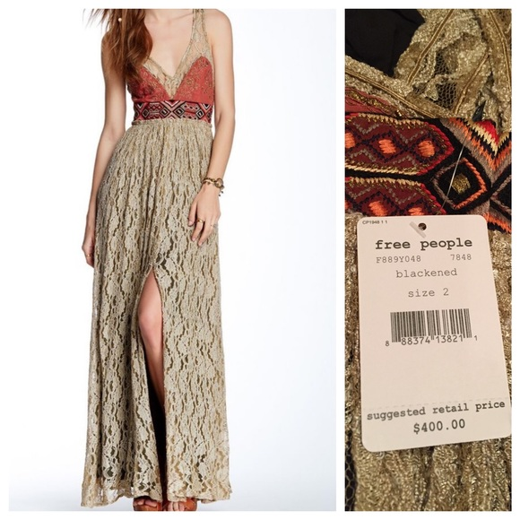 a7957a49dd2 Free people crushed gold lace maxi party dress